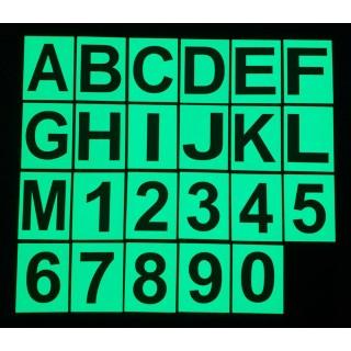 Lettere e numeri fosforescenti in PVC
